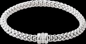 Armband Fope Flex'it Solo aus 750 Weißgold mit mehreren Diamanten (0,1 Karat) Größe L