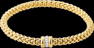 Armband Fope Flex'it Solo aus 750 Gelbgold und 750 Weißgold mit mehreren Diamanten (0,1 Karat) Größe XS