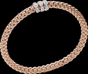 Armband Fope Flex'it Solo aus 750 Roségold mit mehreren Diamanten (0,3 Karat) Größe XS