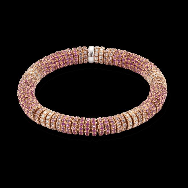 Armband Fope Flex'it Solo aus 750 Gelbgold und 750 Weißgold mit mehreren Brillanten (1,62 Karat) und mehreren Saphiren Größe M