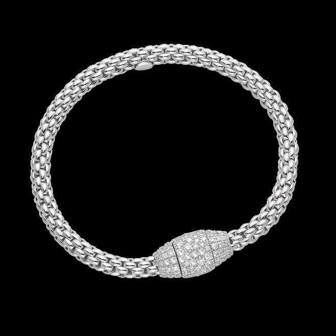 Armband Fope Flex'it Solo aus 750 Weißgold mit mehreren Brillanten (1,77 Karat) Größe M