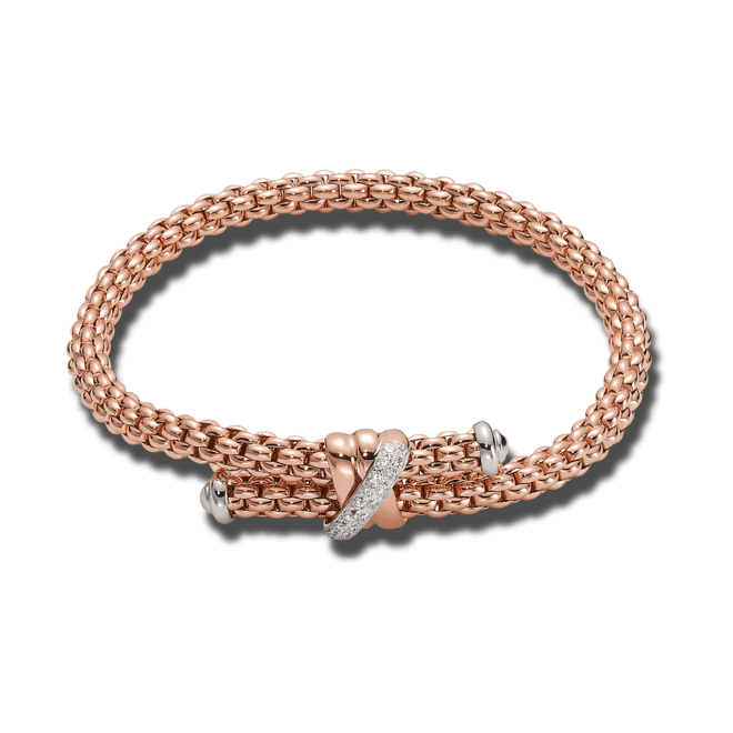Armband Fope Flex'it Solo aus 750 Roségold mit mehreren Brillanten (0,2 Karat) Größe L
