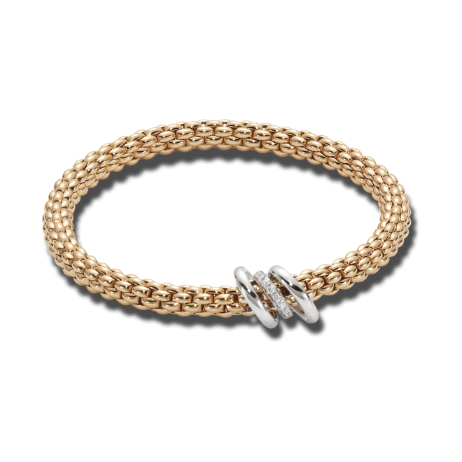 Armband Fope Flex'it Solo aus 750 Roségold und 750 Weißgold mit mehreren Brillanten (0,08 Karat) Größe M