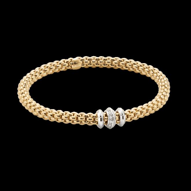 Armband Fope Flex'it Solo aus 750 Gelbgold und 750 Weißgold mit mehreren Brillanten (0,17 Karat) Größe XS