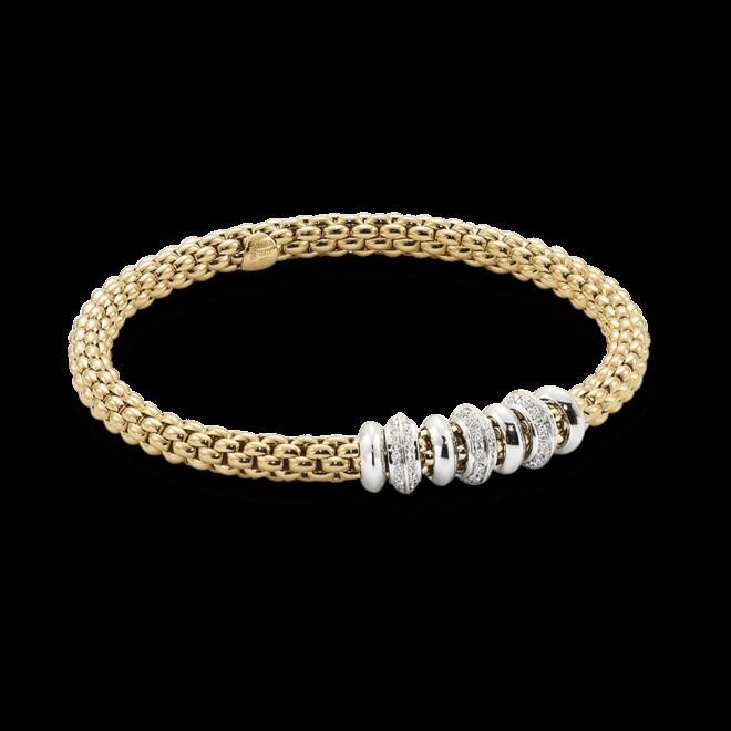 Armband Fope Flex'it Solo aus 750 Gelbgold und 750 Weißgold mit mehreren Brillanten (0,5 Karat) Größe S