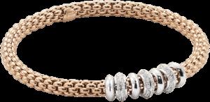 Armband Fope Flex'it Solo aus 750 Roségold und 750 Weißgold mit mehreren Brillanten (0,5 Karat) Größe S