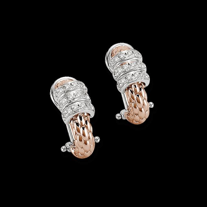 Creole Fope Flex'it Solo aus 750 Roségold und 750 Weißgold mit mehreren Diamanten (2 x 0,15 Karat)