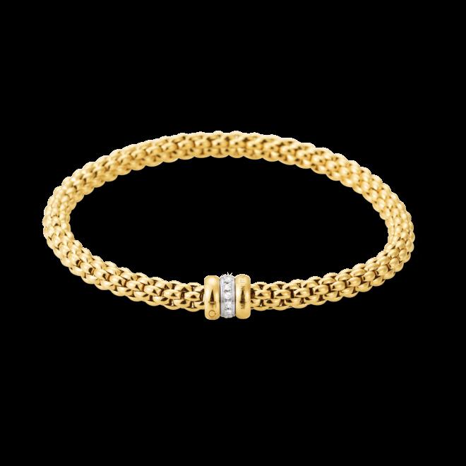 Armband Fope Flex'it Solo Gelbgold aus 750 Gelbgold und 750 Weißgold mit mehreren Diamanten (0,1 Karat) Größe L