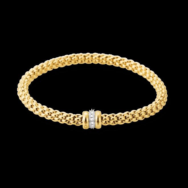 Armband Fope Flex'it Solo Gelbgold aus 750 Gelbgold und 750 Weißgold mit mehreren Brillanten (0,1 Karat) Größe M