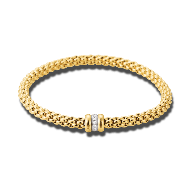 Armband Fope Flex'it Solo Gelbgold aus 750 Gelbgold und 750 Weißgold mit mehreren Brillanten (0,1 Karat) Größe S