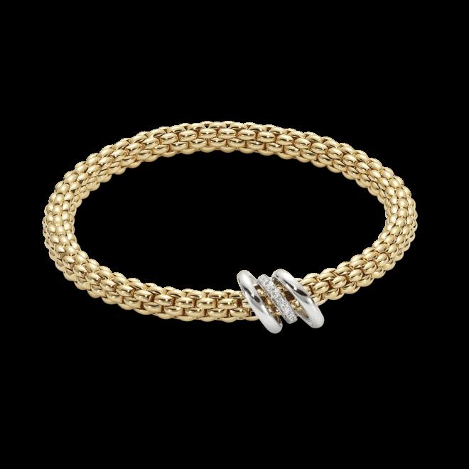Armband Fope Flex'it Solo Gelbgold aus 750 Gelbgold und 750 Weißgold mit mehreren Brillanten (0,08 Karat) Größe M