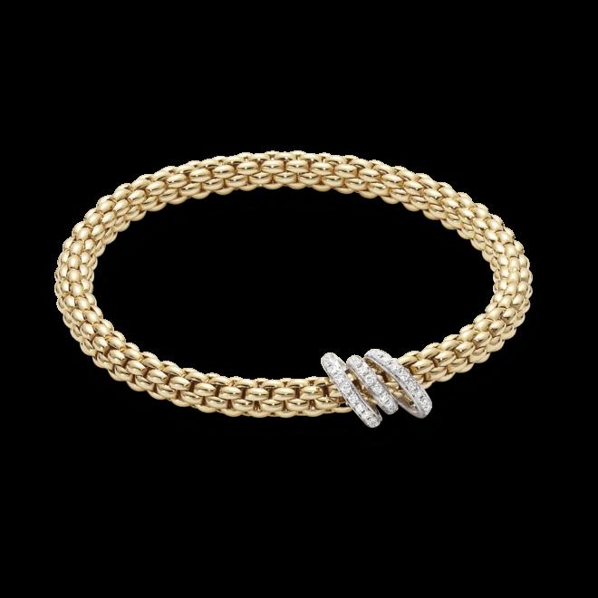 Armband Fope Flex'it Solo Gelbgold aus 750 Gelbgold und 750 Weißgold mit mehreren Brillanten (0,26 Karat) Größe S