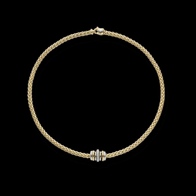 Halskette Fope Flex'it Solo Gelbgold aus 750 Gelbgold mit mehreren Brillanten (0,41 Karat)