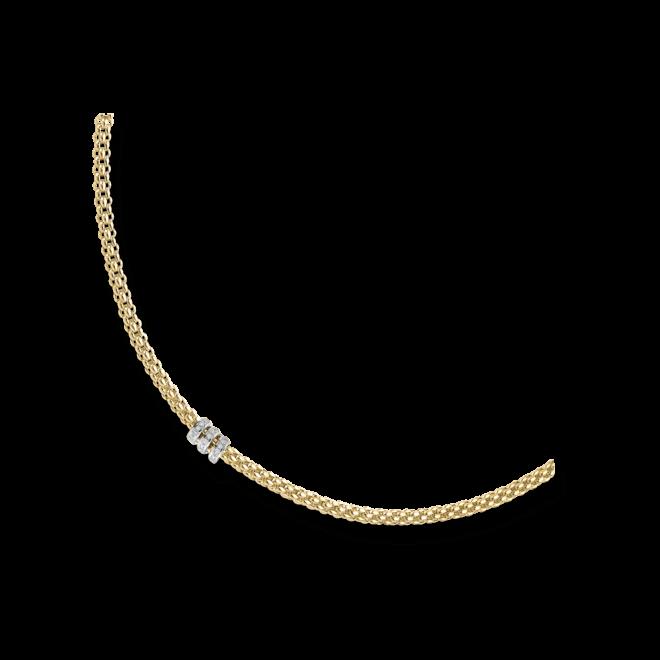 Halskette Fope Flex'it Solo Gelbgold aus 750 Gelbgold mit mehreren Brillanten (0,3 Karat)