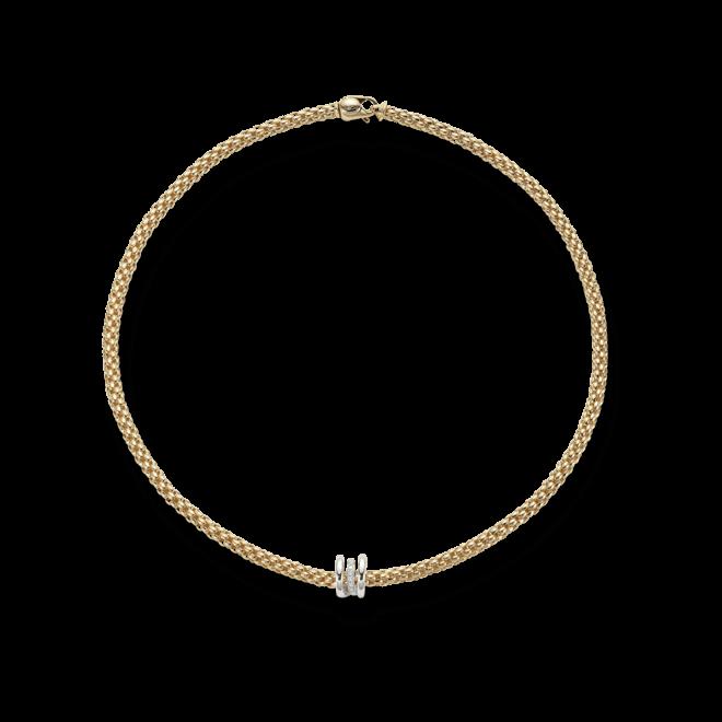 Halskette Fope Flex'it Solo Gelbgold aus 750 Gelbgold und 750 Weißgold mit mehreren Brillanten (0,1 Karat)