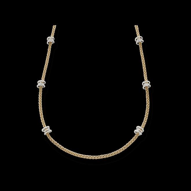 Halskette Fope Flex'it Solo Gelbgold aus 750 Gelbgold und 750 Weißgold mit mehreren Brillanten (2,24 Karat)