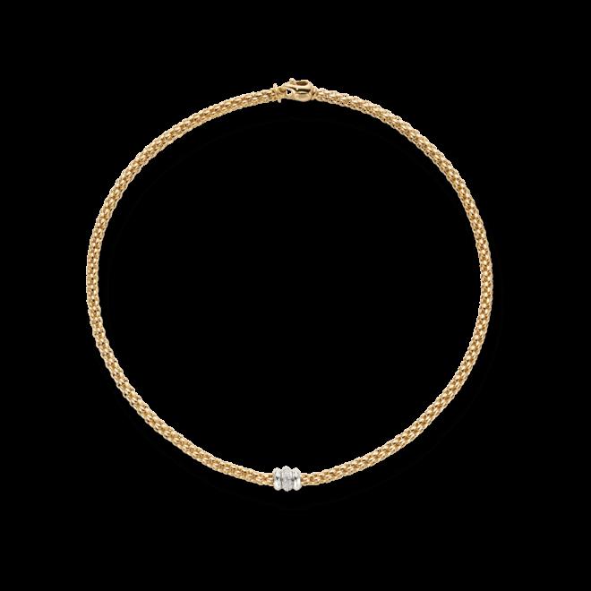 Halskette Fope Flex'it Solo Gelbgold aus 750 Gelbgold mit mehreren Brillanten (0,17 Karat)