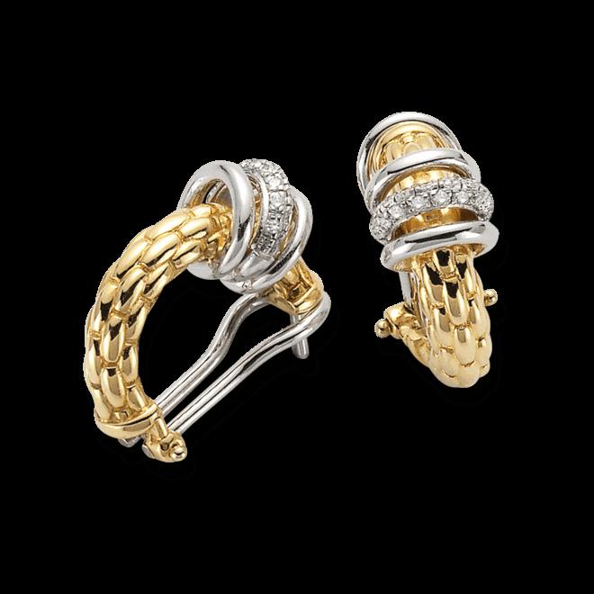 Ohrring Fope Flex'it Solo Gelbgold aus 750 Gelbgold und 750 Weißgold mit mehreren Diamanten (2 x 0,11 Karat)