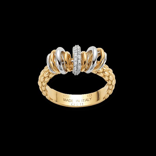 Ring Fope Flex'it Solo Gelbgold aus 750 Gelbgold und 750 Weißgold mit mehreren Brillanten (0,11 Karat)