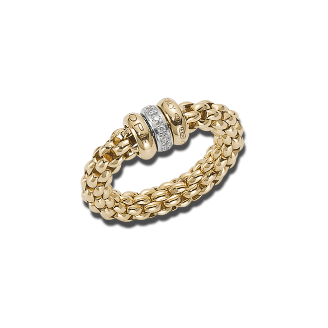 Ring Fope Flex'it Solo Gelbgold aus 750 Gelbgold mit mehreren Brillanten (0,1 Karat) Größe L (58-61)