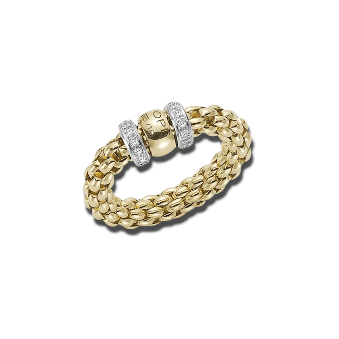 Ring Fope Flex'it Solo Gelbgold aus 750 Gelbgold und 750 Weißgold mit mehreren Brillanten (0,2 Karat) Größe M (54-57)