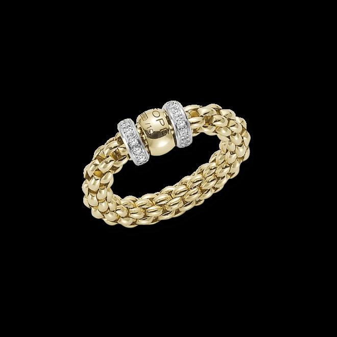 Ring Fope Flex'it Solo Gelbgold aus 750 Gelbgold und 750 Weißgold mit mehreren Brillanten (0,2 Karat) Größe S (49-53)