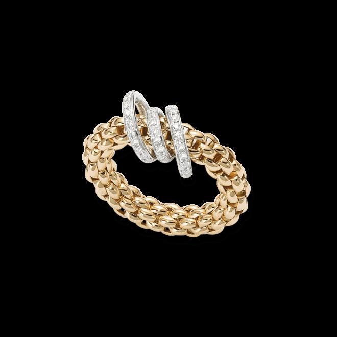 Ring Fope Flex'it Solo Gelbgold aus 750 Gelbgold mit mehreren Brillanten (0,26 Karat) Größe L (58-61)