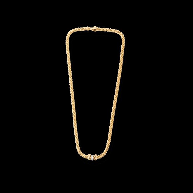 Halskette Fope Flex'it Solo aus 750 Gelbgold mit mehreren Brillanten (0,1 Karat)