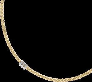Halskette Fope Flex'it Solo aus 750 Gelbgold mit mehreren Brillanten (0,3 Karat)