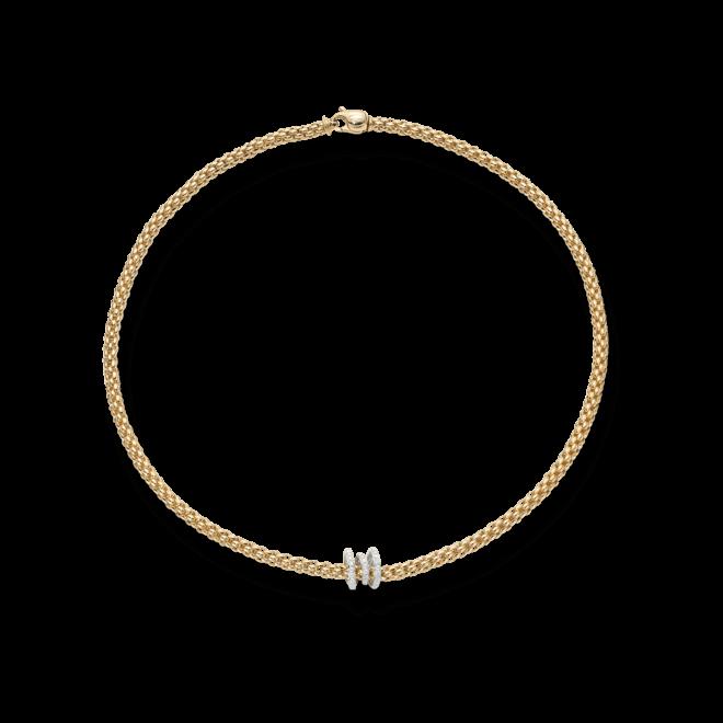 Halskette Fope Flex'it Solo aus 750 Gelbgold und 750 Weißgold mit mehreren Brillanten (0,38 Karat)