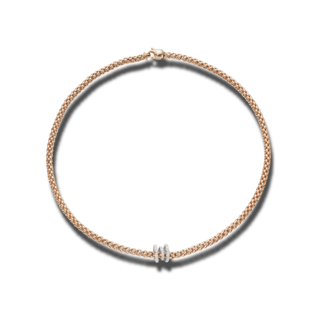 Halskette Fope Flex'it Solo aus 750 Roségold und 750 Weißgold mit mehreren Brillanten (0,38 Karat)