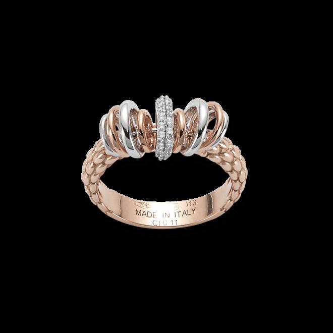 Ring Fope Flex'it Solo aus 750 Roségold und 750 Weißgold mit mehreren Brillanten (0,11 Karat)