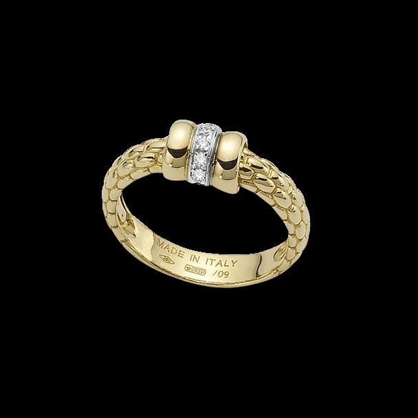 Ring Fope Flex'it Solo aus 750 Gelbgold und 750 Weißgold mit mehreren Brillanten (0,05 Karat)