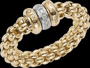 Ring Fope Flex'it Solo aus 750 Gelbgold mit mehreren Brillanten (0,1 Karat) Größe L (58-61)