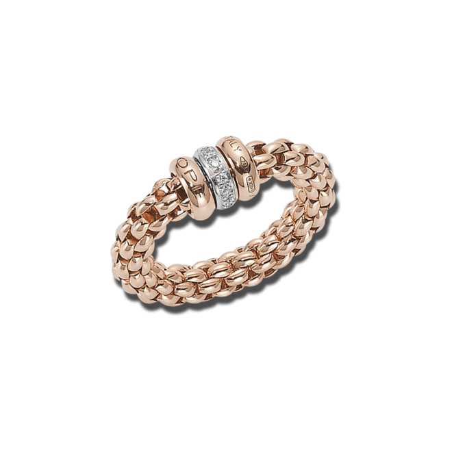 Ring Fope Flex'it Solo aus 750 Roségold und 750 Weißgold mit mehreren Brillanten (0,1 Karat) Größe M (54-57)
