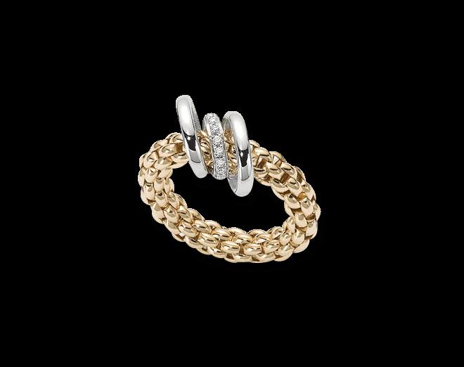 Ring Fope Flex'it Solo aus 750 Gelbgold mit mehreren Brillanten (0,08 Karat) Größe L (58-61)