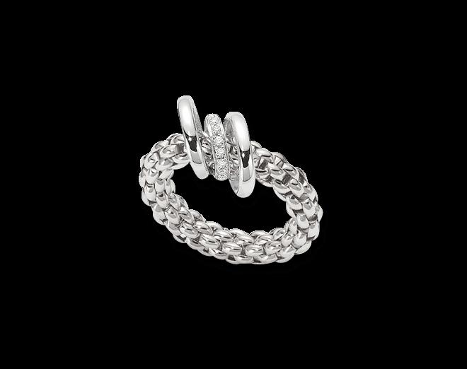Ring Fope Flex'it Solo aus 750 Weißgold mit mehreren Brillanten (0,08 Karat) Größe M (54-57)