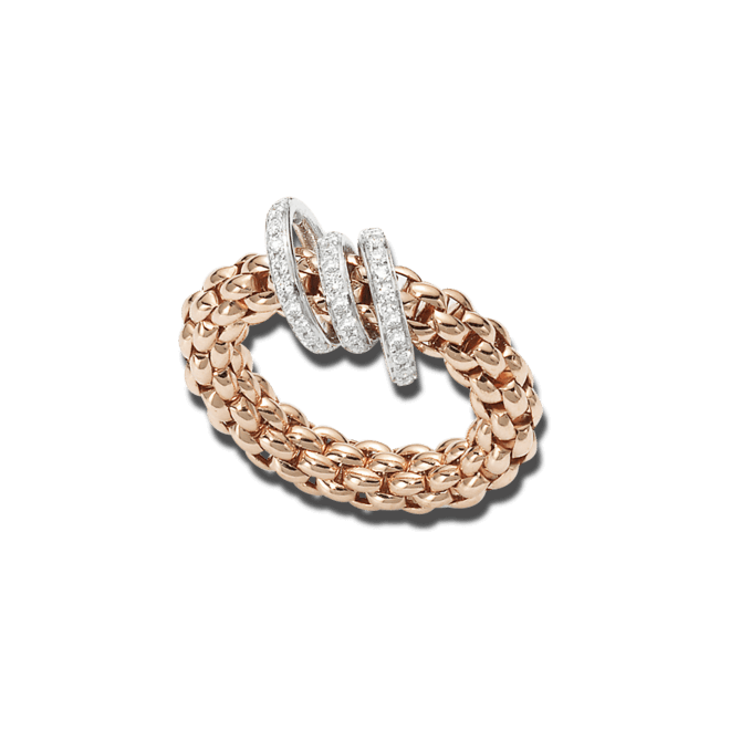 Ring Fope Flex'it Solo aus 750 Roségold mit mehreren Brillanten (0,26 Karat) Größe S (49-53)