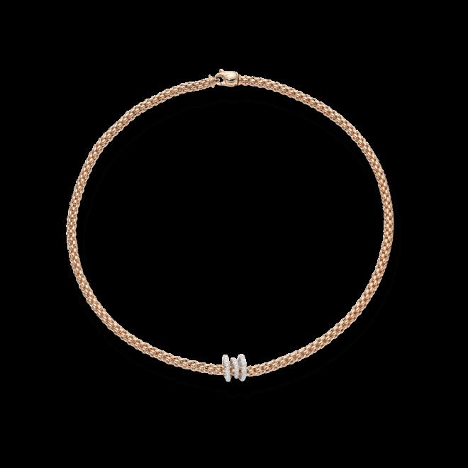 Halskette Fope Flex'it Solo Roségold aus 750 Roségold und 750 Weißgold mit mehreren Brillanten (0,38 Karat)