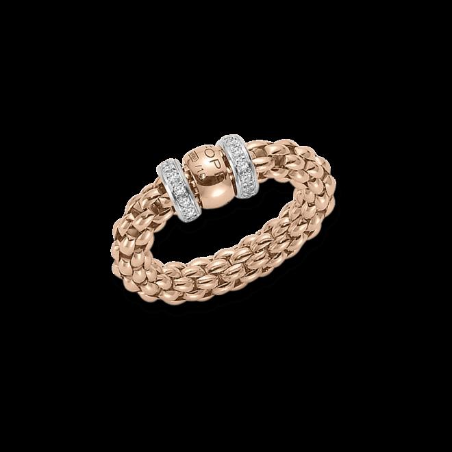 Ring Fope Flex'it Solo Roségold aus 750 Roségold mit mehreren Brillanten (0,2 Karat) Größe S (49-53)