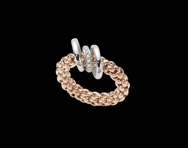 Ring Fope Flex'it Solo Roségold aus 750 Roségold mit mehreren Brillanten (0,08 Karat) Größe M (54-57)