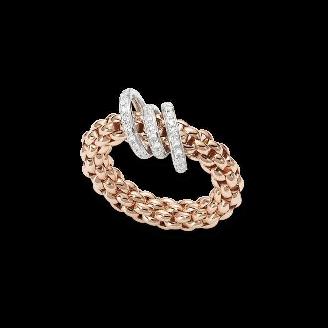 Ring Fope Flex'it Solo Roségold aus 750 Roségold mit mehreren Brillanten (0,26 Karat) Größe L (58-61)