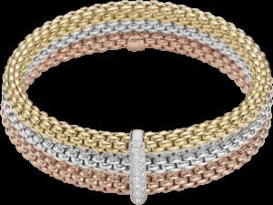 Armband Fope Flex'it Solo Tricolor aus 750 Gelbgold, 750 Weißgold und 750 Roségold mit mehreren Diamanten (0,34 Karat) Größe M