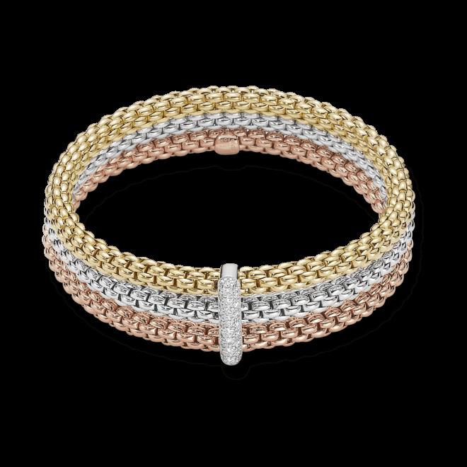 Armband Fope Flex'it Solo Tricolor aus 750 Gelbgold, 750 Weißgold und 750 Roségold mit mehreren Diamanten (0,34 Karat) Größe S