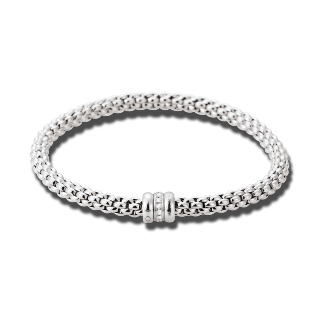 Armband Fope Flex'it Solo Weißgold aus 750 Weißgold mit mehreren Diamanten (0,1 Karat) Größe L