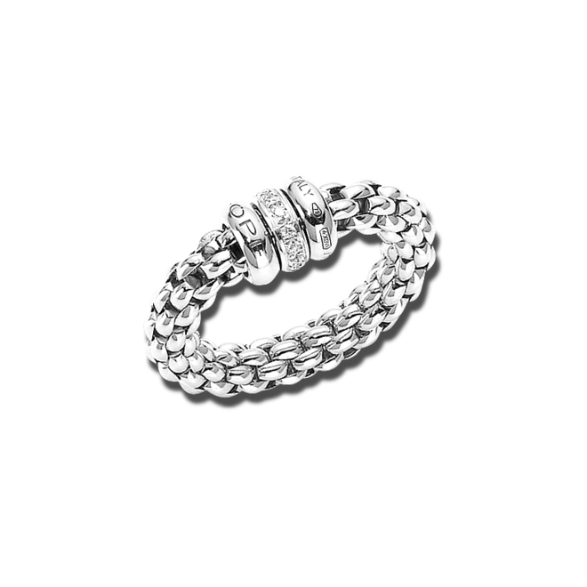 Ring Fope Flex'it Solo Weißgold aus 750 Weißgold mit mehreren Brillanten (0,1 Karat) Größe L (58-61)