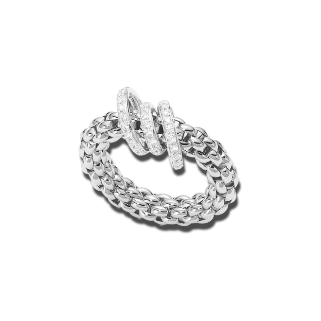 Ring Fope Flex'it Solo Weißgold aus 750 Weißgold mit mehreren Brillanten (0,26 Karat) Größe S (49-53)