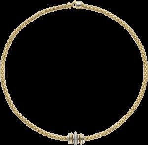 Halskette Fope Flex'it Solo aus 750 Gelbgold mit mehreren Brillanten (0,41 Karat)