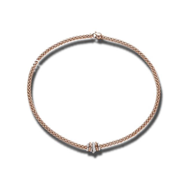 Halskette Fope Flex'it Solo aus 750 Roségold mit mehreren Brillanten (0,41 Karat)