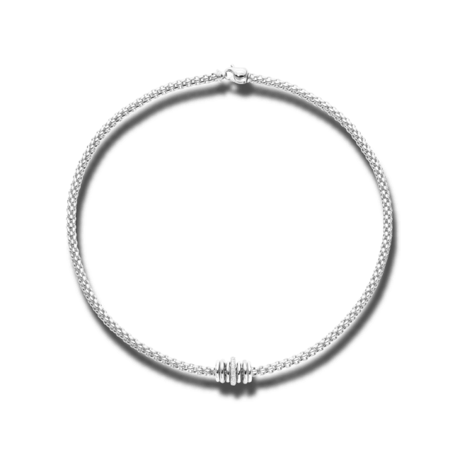 Halskette Fope Flex'it Solo aus 750 Weißgold mit mehreren Brillanten (0,41 Karat)